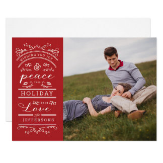 White Typography Red Christmas Photo Card