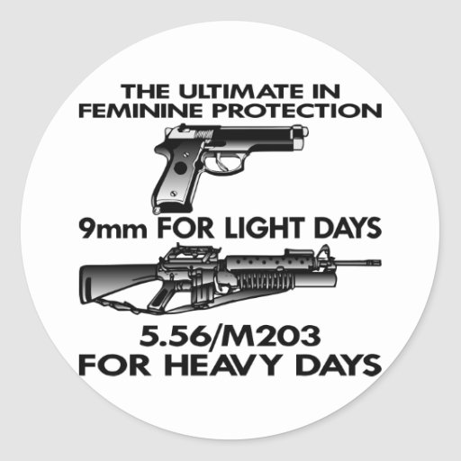 White Ultimate Feminine Protection Round Stickers