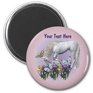 White Unicorn And Butterflies Fantasy Magnet
