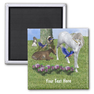 White Unicorn And Forest Friends Magnet