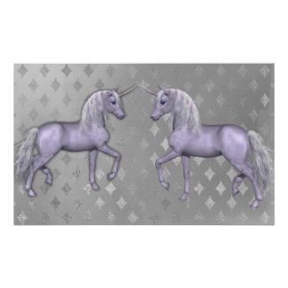 White Unicorn and Silver Diamonds Poster