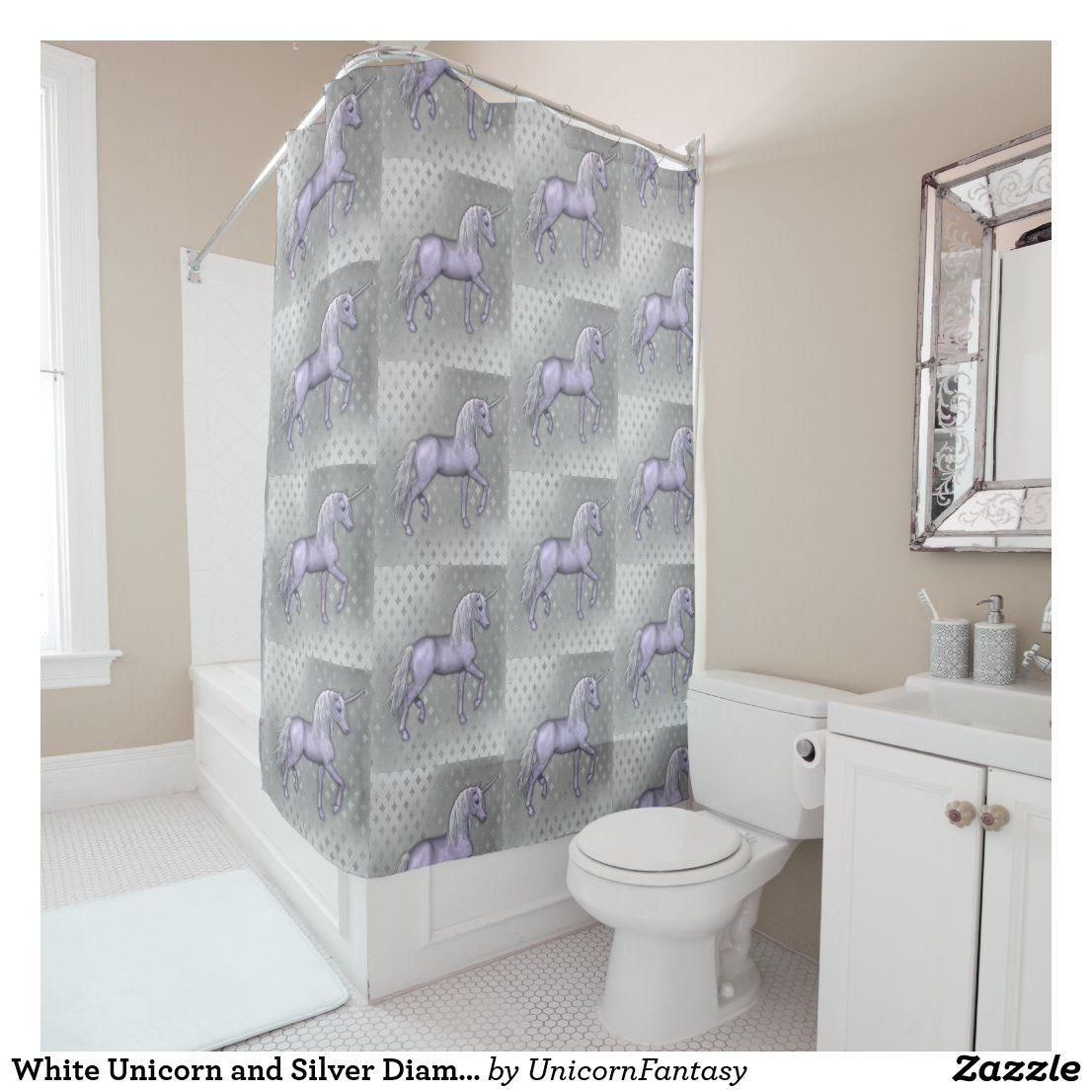 White Unicorn and Silver Diamonds Shower Curtain