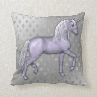 White Unicorn and Silver Diamonds Throw Pillow