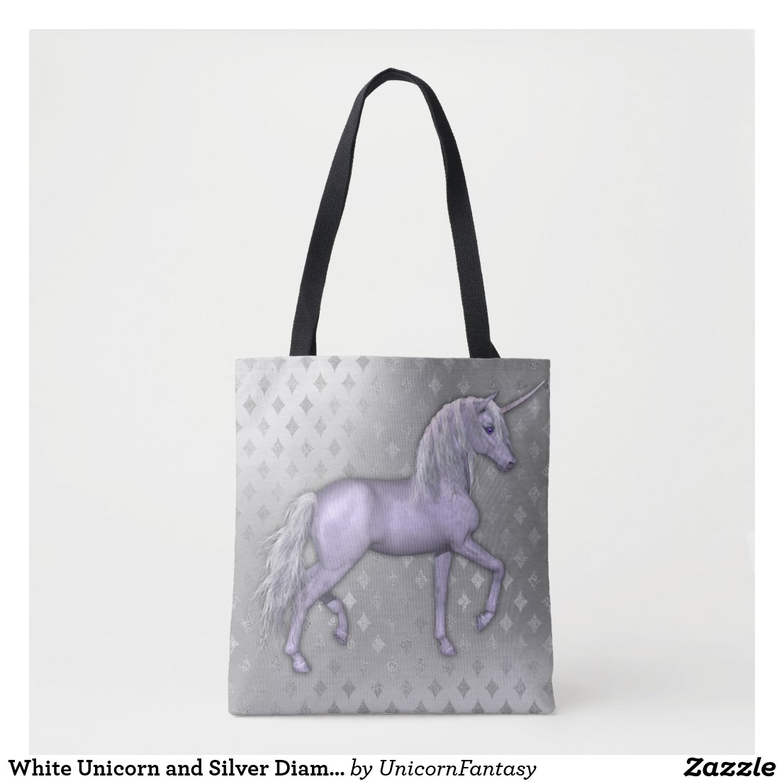 White Unicorn and Silver Diamonds Tote Bag