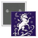 White Unicorn at Night Button