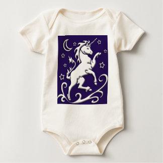White Unicorn at Night Organic Infant Creeper