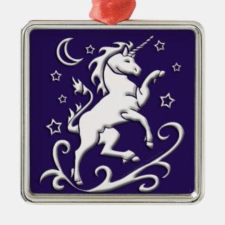 White Unicorn at Night Ornament