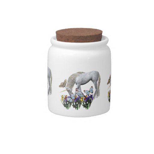 White Unicorn Blue Butterflies Flowers Candy Jars