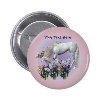 White Unicorn Butterflies Fantasy Button