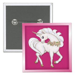 White Unicorn 2 Inch Square Button