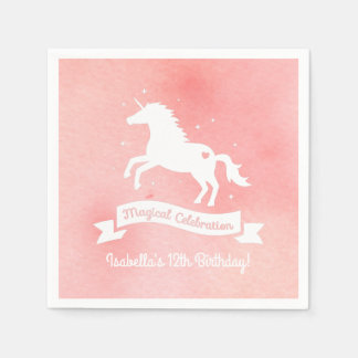 White Unicorn Fantasy Girls Birthday Party Napkins