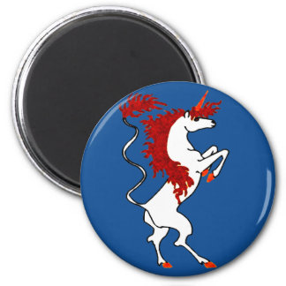 White Unicorn Fiery Red Hair 2 Inch Round Magnet