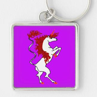 White Unicorn Fiery Red Hair Keychain