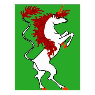 White Unicorn Fiery Red Hair Postcard