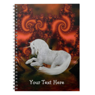 White Unicorn Fractals Personalized Notebook
