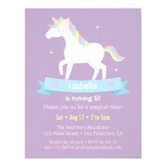 White Unicorn Girls Birthday Party Invitations