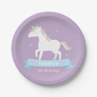 White Unicorn Girls Birthday Purple Party Plates