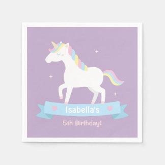 White Unicorn Girls Birthday Purple Party Supplies Paper Napkin