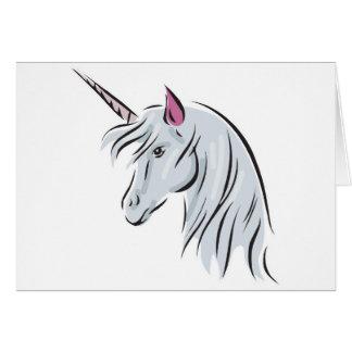 white unicorn head greeting cards
