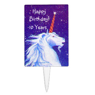 White Unicorn Head Night Sky Cake Topper