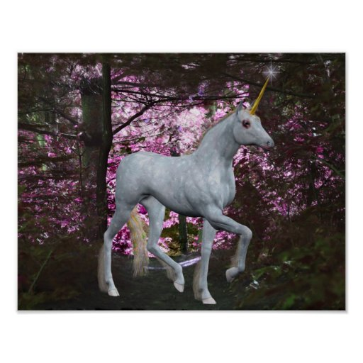 White Unicorn In Forest Fantasy Horse Poster