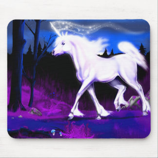 White Unicorn Mouse Pad