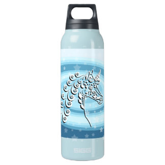 White Unicorn on Blue Swirl Star Background Insulated Water Bottle