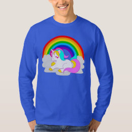 White Unicorn on Cloud Rainbow Men's Long Sleeve T-Shirt