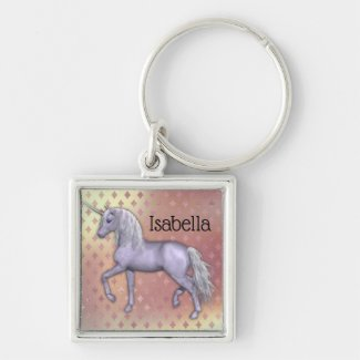 White Unicorn on Pink Diamonds Keychain
