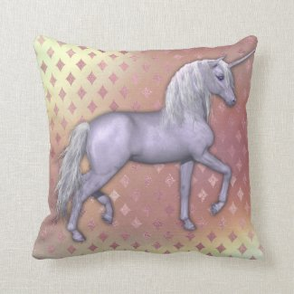White Unicorn on Pink Diamonds Throw Pillow