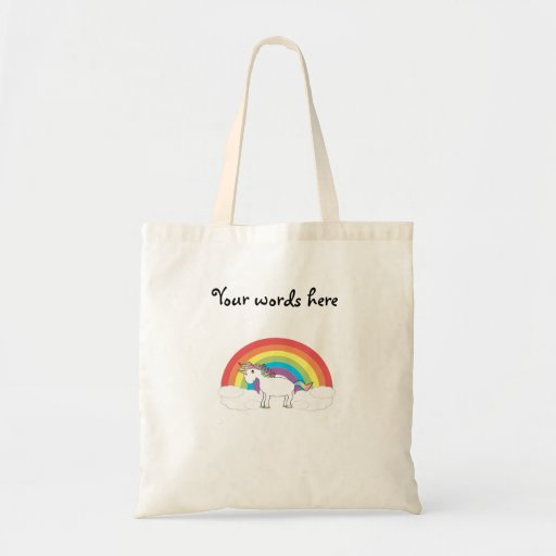White unicorn on rainbow and clouds budget tote bag