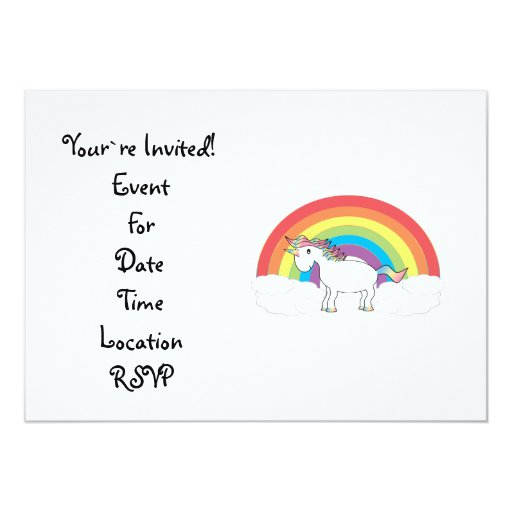 White unicorn on rainbow and clouds 5x7 paper invitation card
