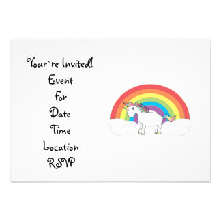 White unicorn on rainbow and clouds invitations