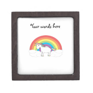 White unicorn on rainbow and clouds keepsake box