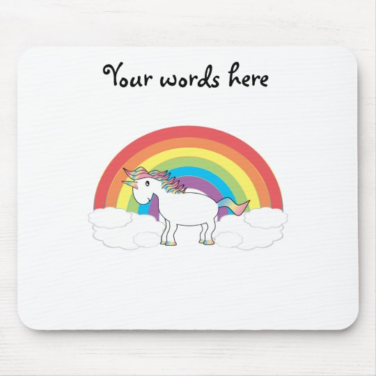 White unicorn on rainbow and clouds mouse pad
