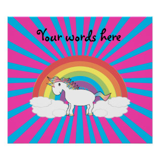 White unicorn on rainbow and clouds posters
