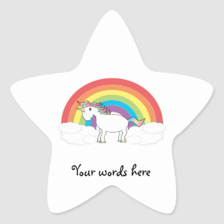 White unicorn on rainbow and clouds star sticker