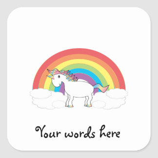 White unicorn on rainbow and clouds square sticker