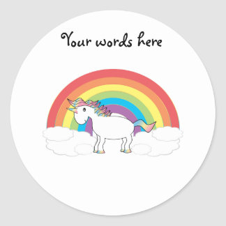 White unicorn on rainbow and clouds classic round sticker