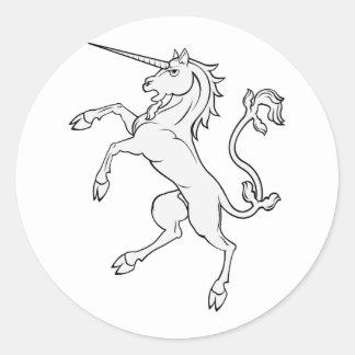 White Unicorn Rearing/Standing Classic Round Sticker