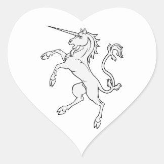 White Unicorn Rearing/Standing Heart Sticker