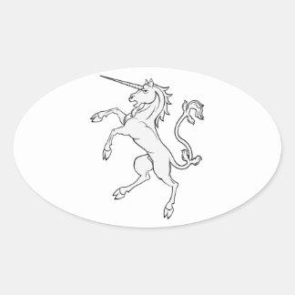 White Unicorn Rearing/Standing Oval Sticker