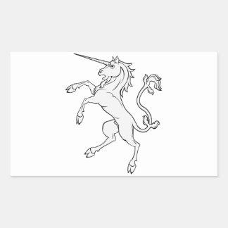 White Unicorn Rearing/Standing Rectangular Sticker