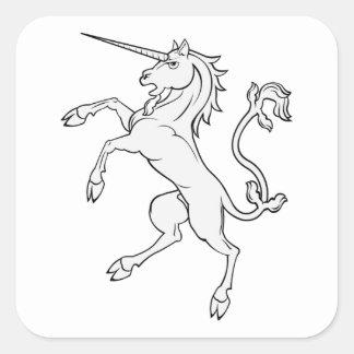 White Unicorn Rearing/Standing Square Sticker