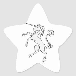 White Unicorn Rearing/Standing Star Sticker