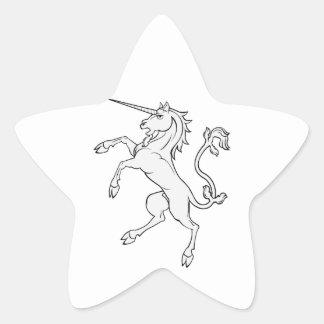 White Unicorn Rearing/Standing Star Sticker
