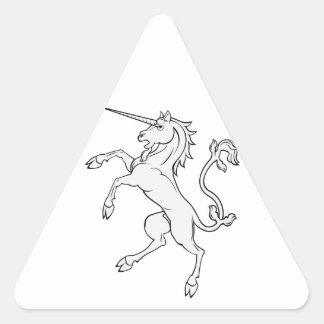 White Unicorn Rearing/Standing Triangle Sticker