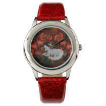 White Unicorn Red Fractals Animal Art Wrist Watch