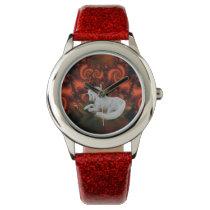 White Unicorn Red Fractals Animal Art Wristwatch