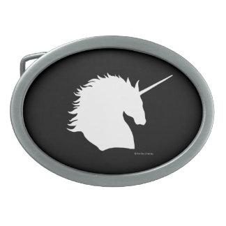 """""""White Unicorn Sigil"""" Black Belt Buckle"""